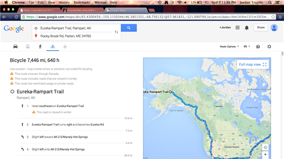 Longest Cycling Route Calculated In Google Maps