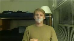Most Pieces Of Tape Taped To Face At Once