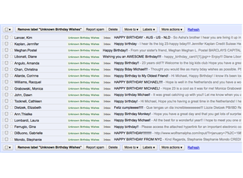 Most Happy Birthday Emails Received From People You Do Not Know