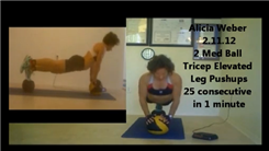 Most Consecutive Two-Medicine Ball Tricep Push-Ups With An Elevated Leg In One Minute (Female)