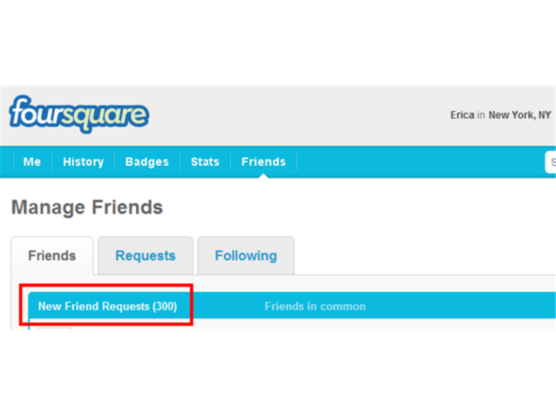 Most Pending Foursquare Friend Requests