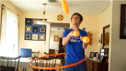 Longest Time To Juggle Three Clubs While Hula Hooping