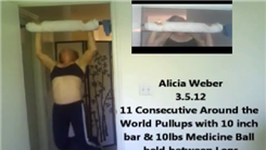 Most Around The World Pull-Ups On A 10-Inch Thick Bar While Holding A 10-Pound Medicine Ball Between Legs