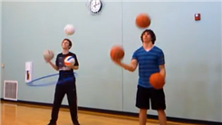 Longest Time Juggling Three Volleyballs And Hula Hooping While Someone Juggles Three Basketballs
