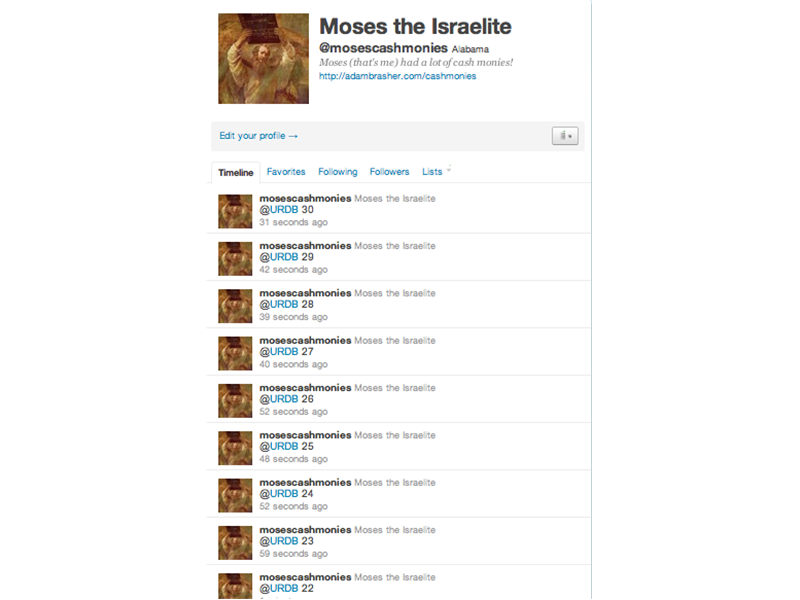 Most Consecutive Tweets To @URDB