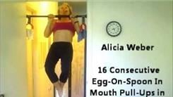 Most Consecutive Egg-On-Spoon-In-Mouth Pull-Ups In One Minute