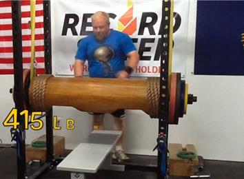 Most Reps Bench Pressing A 415-Pound Wooden Log