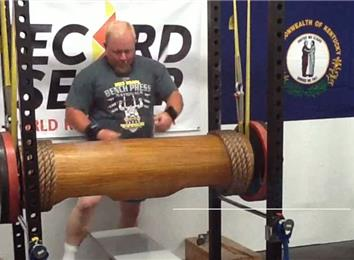 Most Reps Bench Pressing A 380-Pound Wooden Log