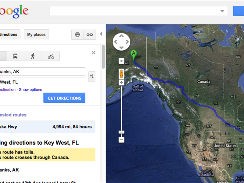 Longest Driving Route Calculated In Google Maps