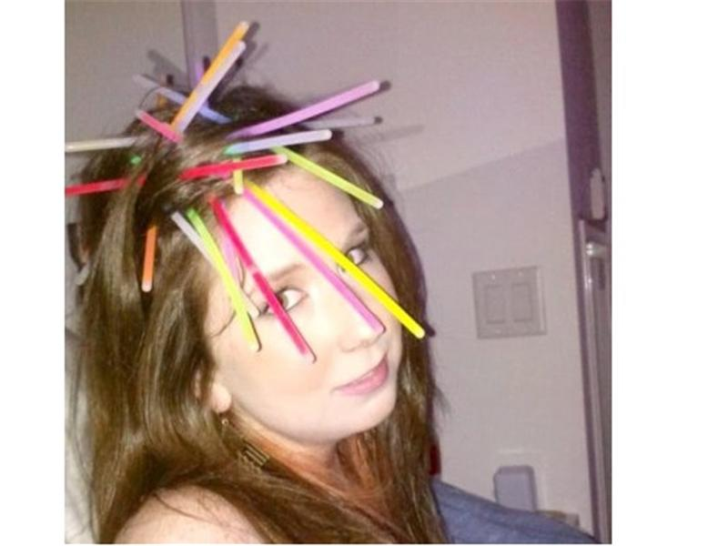 Most Glow Sticks In Hair