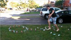Fastest Time To Knock Down 50 Soda Cans With A Golf Club