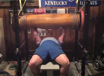 Heaviest Wooden Log Bench Press