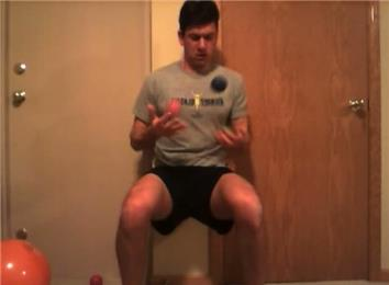 Most Catches Juggling Three Balls In One Minute While Doing A Wall Sit