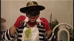 Fastest Time To Eat 10 McDonald's Hamburgers While Dressed As Hamburglar