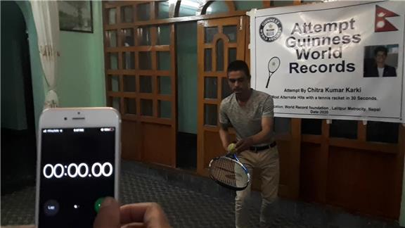Most Alternate Hits With a Tennis Racket in 30 Second