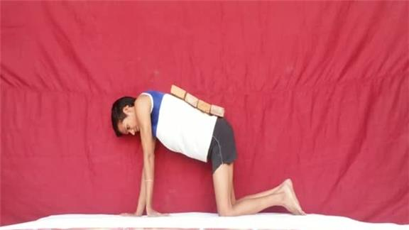 Most Head Dips in 30 Seconds  While Holding a  Peacock Pose With Four Bricks on Back