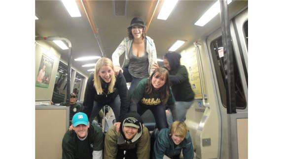 Largest Human Pyramid On A Moving Subway
