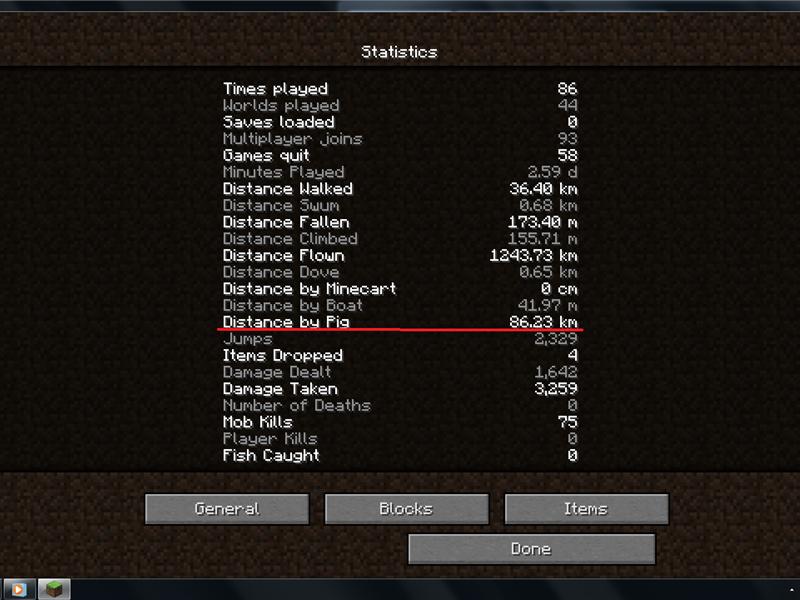 Farthest Distance Ridden On A Pig In Minecraft