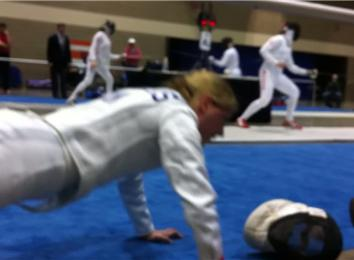 Most Piste-Side Push-Ups At A North American Cup Epée Bout While Wearing Fencing Whites