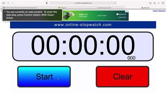 Fastest Time To Start And Stop An Online Stopwatch