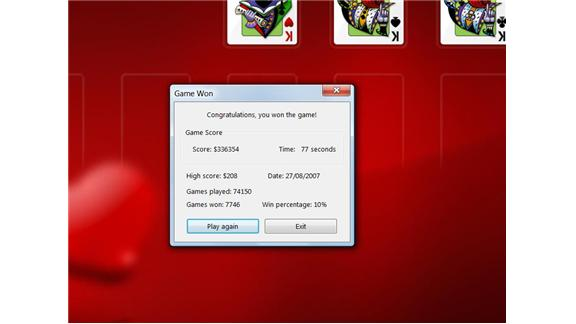 Most Games Of Solitaire Played Using Windows Vista