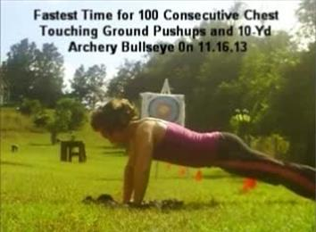 Fastest Time To Perform A 100 Chest-Touching-Ground Push-Ups, 10-Yard Archery Bullseye Combination
