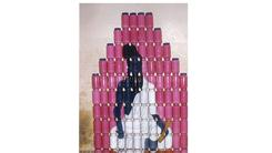 Most Horlicks Containers Stacked To Paint An Image