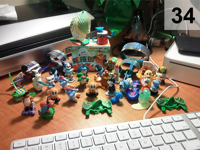 Most Kinder Egg Toys Displayed On An Office Desk In The USA