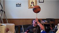 Most Balls Flashed While Lying Down And Spinning A Basketball On A Mouthstick