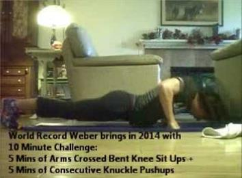Most Reps In The 10-Minute Arms Crossed Bent Knee Sit-Ups And Knuckle Push-Ups Challenge