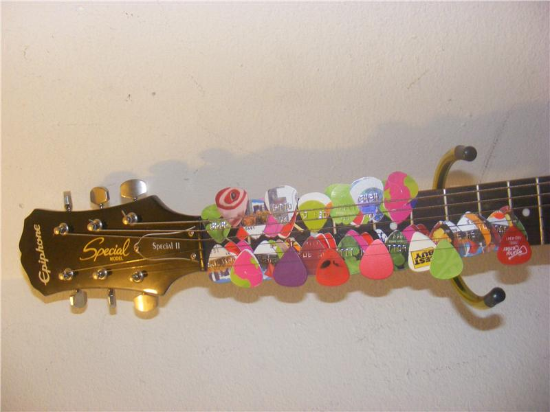 Most Guitar Picks On A Guitar Neck