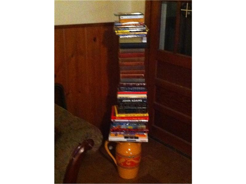 Most Books Stacked On A Vase