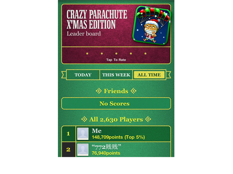 Highest Score On Crazy Parachute X\'Mas Edition (iPhone)