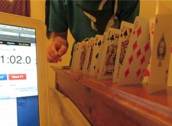 Fastest Time To Set Up And Topple A Playing Card Domino Chain