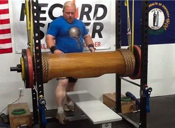 Most Reps Bench Pressing A 365-Pound Wooden Log