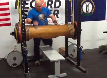 Most Reps Bench Pressing A 385-Pound Wooden Log