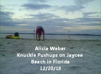 Most Knuckle Push-Ups On A Beach