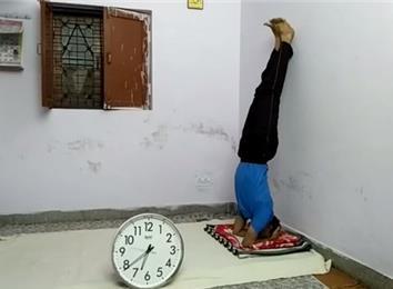 longest head stand against a wall  world record  krishan