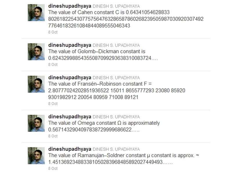 Most Consecutive Tweets Featuring Mathematical Or Physical Constants