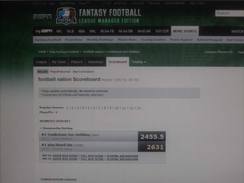Highest Combined Score Between Two Teams In A One-Round NFL Fantasy Football Game