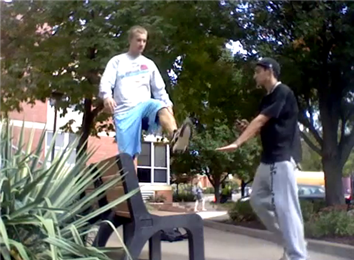 Most Karate Kicks On A Park Bench In 30 Seconds