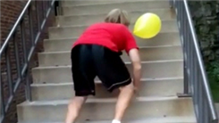 Most Stairs To Push A Balloon Up Using Head In 15 Seconds